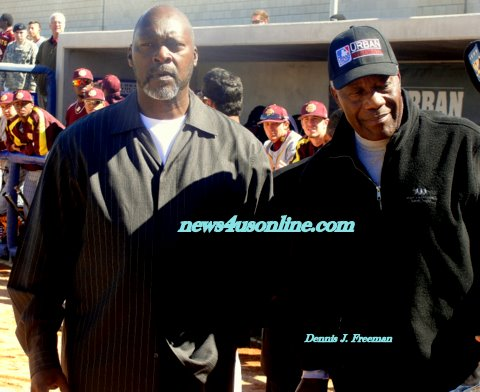 """Black Aces: Former Major League Baseball greats Dave Stewart (left) and Jim """"Mudcat"""" Grant are just two of a few black pitchers to star in the big leagues./Photo Credit: Dennis J. Freeman"""