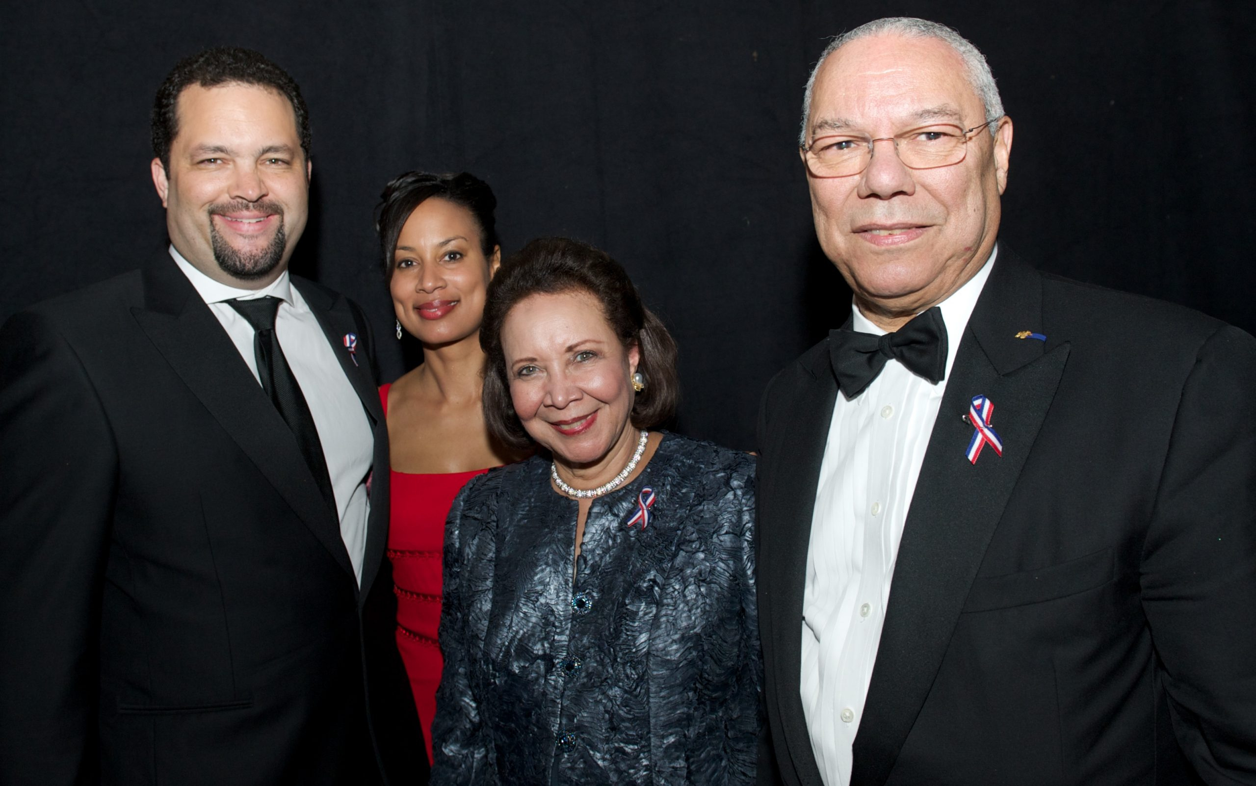 (L-R) President of the NAACP, Ben Jealous is joined with his wife Lia Epperson, Alma Powell and Colin Powell at the 42nd NAACP Images Awards in Los Angeles on Friday March 4, 2011./AP Photo/Earl GibsonIII