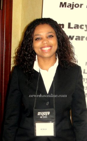 ESPN's columnist and First Take analyst Jemele Hill at the 2010 National Association of Black Journalists Convention in San Diego./Photo Credit: Dennis J. Freeman