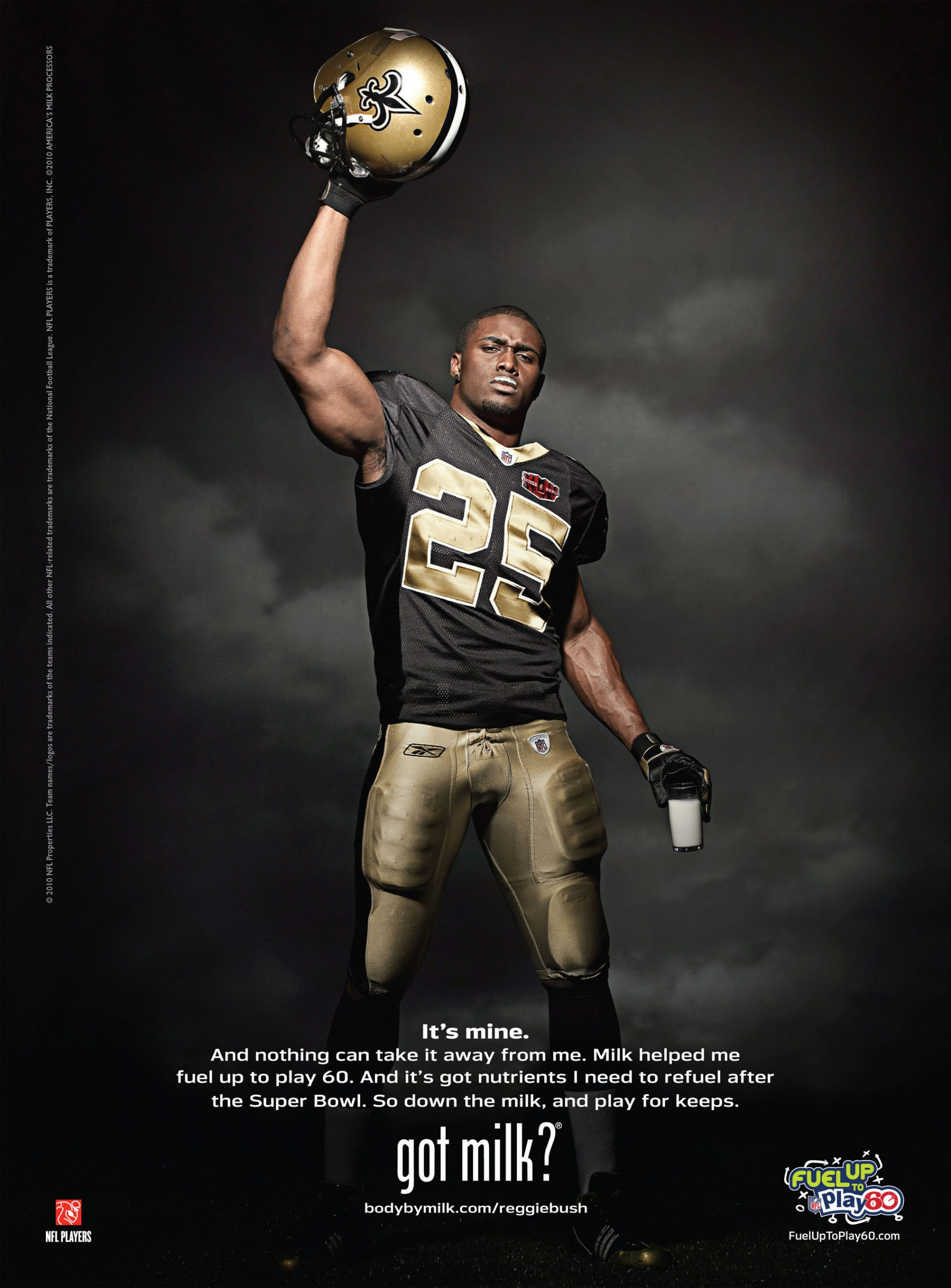 Reggie Bush, who appears in the 13th annual winning football Milk Mustache ad, saw his college football achievements undone by alleged impropriety./PRFoto/PRNewwire