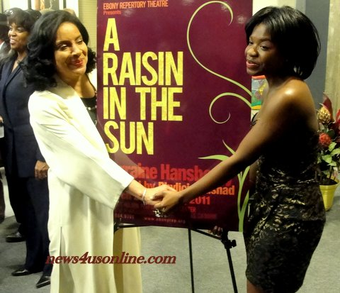 "Director Phylicia Rashad and ""A Raisin the Sun"" cast member Kenya Alexander on opening night./Photo Credit: Dennis J. Freeman/news4usonline.com"