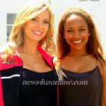 Miss Indy Nicole Rossetto and actress/reporter Crystal Coney attend a media luncheon at the IndyCar Series Toyota Grand Prix of Long Beach./Photo Credit: Dennis J. Freeman/news4usonline.com