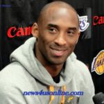Los Angeles Lakers star Kobe Bryant speaks to the media after his season exit interview with team management/Dennis J. Freeman