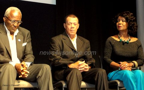 "Former major league baseball stars Jim ""Mudcat"" Grant and Maury Wills share the stage with Curt Flood's widow, Judy Pace Flood, in a panel discussion following the Los Angeles premiere of HBO's documentary, ""The Curious Case of Curt Flood"" at the Museum of Tolerance./Photo: Dennis J. Freeman/news4usonline.com"