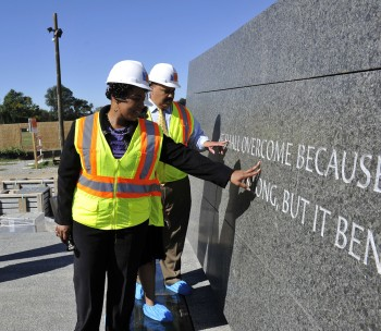 Bernice King and Martin Luther King, III, children of the late Rev. Martin Luther King, Jr., viewed the inscription wall while touring the construction site of the Washington, DC Martin Luther King, Jr. National Memorial./PRNewswire