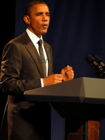 As President Barack Obama entered the stage of House of Blues venue in Hollywood for one of his many 2012...