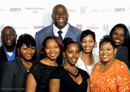 """Earvin """"Magic"""" Johnson and staff members from the Magic Johnson Foundation attend the premiere of """"The Announcement"""" in Los Angeles. Photo Credit: Dennis J. Freeman"""