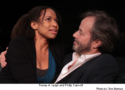 """Tracey A. Leigh (left) and Philip Casnoff share dualing lead roles in the stage play, """"The Many Mistresses of Martin Luther King Jr."""" Photo Credit: Tom Burruss"""