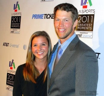 Los Angeles Dodgers pitcher Clayton Kershaw and wife attend the L.A. Sports Awards. Photo Credit: Dennis J. Freeman