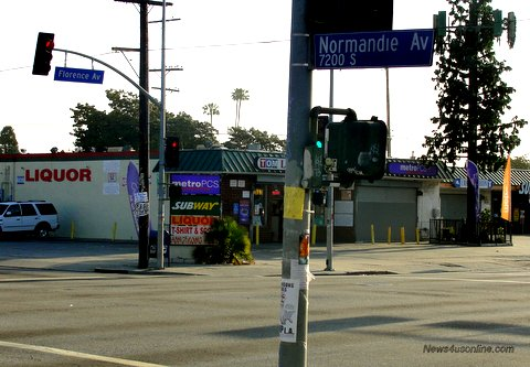 Flashpoint to madness: The corner of Florence Ave.and Normandie Ave. served as the flashpoint of the 1992 Los Angeles riots, which erupted on April 29. Photo: Dennis J. Freeman