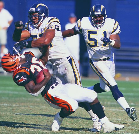 San Diego Chargers great Junior Seau (55) made his presence felt on and off the football field. Photo courtesy of the San Diego Chargers