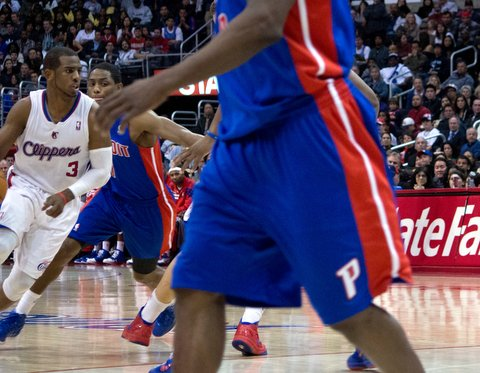 Man in motion: Chris Paul, pictured here in a regular season game against the Detroit Pistons, led a fourth-quarter surge to give the Los Angeles Clippers a 2-1 advantage over the Memphis Grizzlies in their first-round playoff series. Photo Credit: Sterling Cross, courtesy of Inland  Valley News