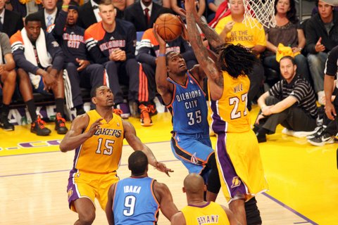 Kevin Durant (35) is the leader of the young Oklahoma City Thunder team that made their way to the NBA FInals. Photo Credit: Burt Harris, Courtesy HGStar1