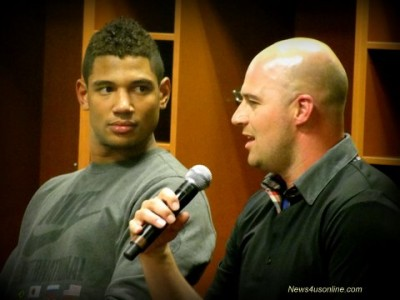 Tampa Bay Buccaneers quarterback Josh Freeman (left) and Tennessee Titans qb Matt Hasselbeck talk football at the 10th Annual NFL Access event at the Rose Bowl. Photo: Dennis J. Freeman