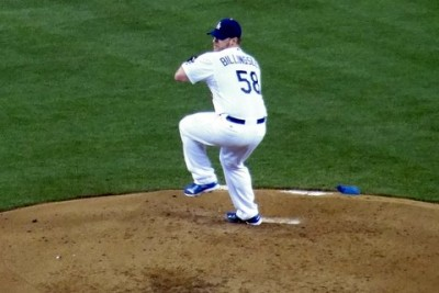 Los Angeles Dodgers pitcher Chad Billingsley stops the team's three-game homestand losing streak with a solid performance. Photo: Dennis J. Freeman
