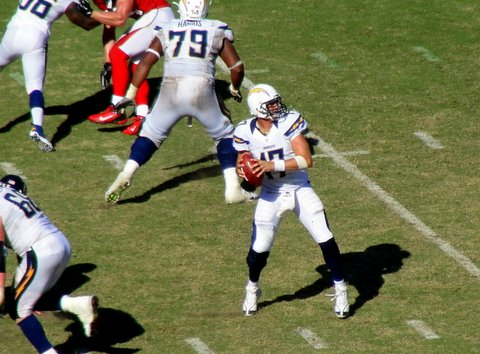 Philp Rivers and the San Diego Chargers weren't able get the offense going against the Atlanta Falcons in 27-6.