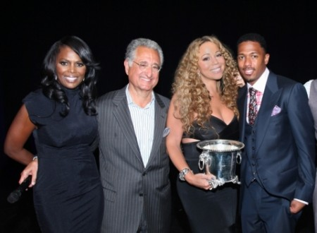 Pictured above are BMI VP, Writer/Publisher Relations Catherine Brewton; BMI President & CEO Del Bryant; BMI Icon Mariah Carey; and Nick Cannon./Photo Courtesy BMI