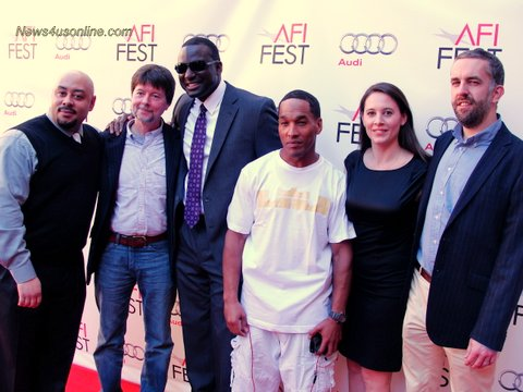 "Power team: Raymond Santana (left to right), director Ken Burns, Yusef Salaam, Korey Wise, directors Sarah Burns and David McMahon at the 2012 AFI Fest screening of ""The Central Park Five."""