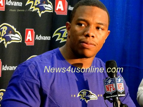 Baltimore Ravens running back Ray Rice speaks to reporters after leading his team to an improbable win against the San Diego Chargers. Photo: Dennis J. Freeman