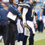 San Diego Chargers coach Norv Turner and quarterback Philip Rivers are not too happy with the way things went against the Carolina Panthers. Photo Credit: Mike Zito
