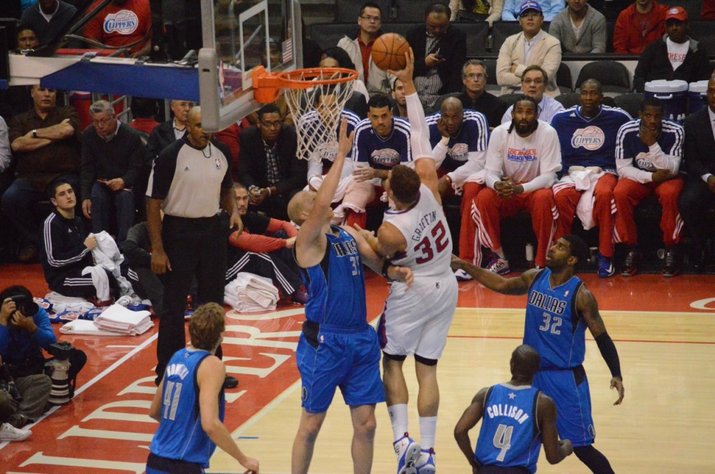 Los Angeles Clippers forward Blake Griffin goes the sky route against the Dallas Mavericks. Photo Credit: Ronald Jenkins