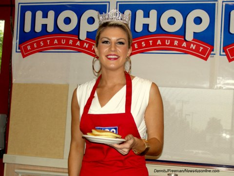 HOLLYWOOD-Miss America Mallory Hagan may now be the most famous pancake flipper in the world thanks to her two-day run...