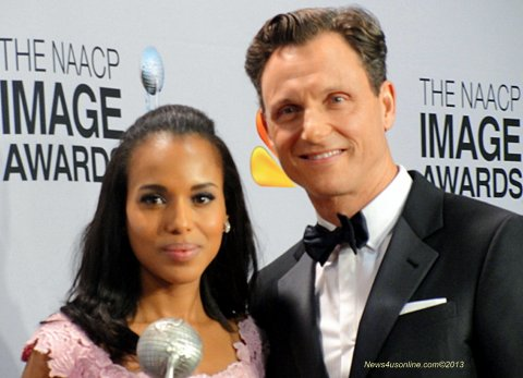 Actress Kerry Washington and actor Tony Goldwin at the NAACP Image Awards. Photo Credit: Dennis J. Freeman