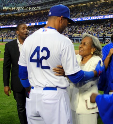 Los Angeles Dodgers outfielder Matt Kemp and Rachel Robinson celebrate Jackie Robinson Day. Photo Credit: Dennis J. Freeman