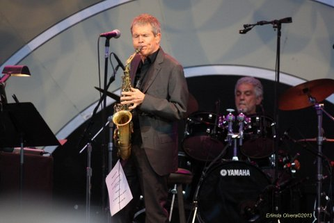 Jazz great David Sanborn goes into his routine at the Playboy Jazz Festival. Photo Credit: Erlinda Olvera