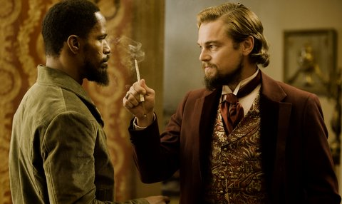 (L-R) JAMIE FOXX and LEONARDO DiCAPRIO star in DJANGO UNCHAINED. Credit: Andrew Cooper, SMPSP / The Weinstein Company