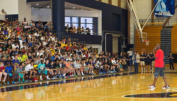 Kobe Bryant speaks to campers at his annual Kobe Bryant Basketball Academy at UC Santa Barbara. Photo Credit: Charlie Lopez