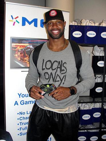 Jacksonville Jaguars Marcedes Lewis hanging out at the GBK Pre-Awards Lounge. Photo: Dennis J. Freeman