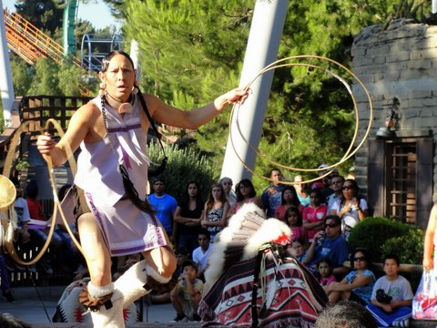 A native American dancer at Knott's Berry Farm. Photo: Dennis J. Freeman