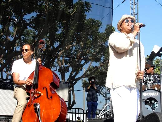 """Stanley Clarke and Howard Hewett collaborate on """"Sweet Baby"""" at the Long Beach Jazz Festival. Photo Credit: Dennis J. Freeman"""