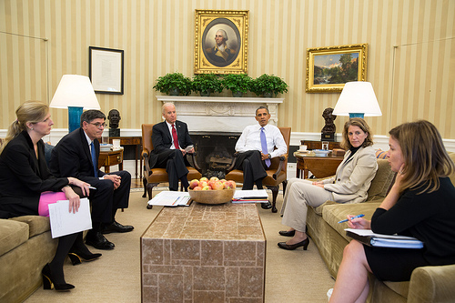 President Barack Obama and Vice President Joe Biden listen as they are updated on the federal government shutdown and the approaching debt ceiling deadline, in the Oval Office, Oct. 1, 2013. From left, Kathryn Ruemmler, Counsel to the President, Treasury Secretary Jack Lew, Sylvia Mathews Burwell, Director of OMB, and Alyssa Mastromonaco, Deputy Chief of Staff. (Official White House Photo by Pete Souza)