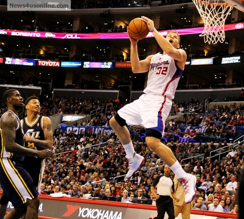 Ready to fly: Blake Griffin goes airborne against the Utah Jazz. /Dennis J. Freeman