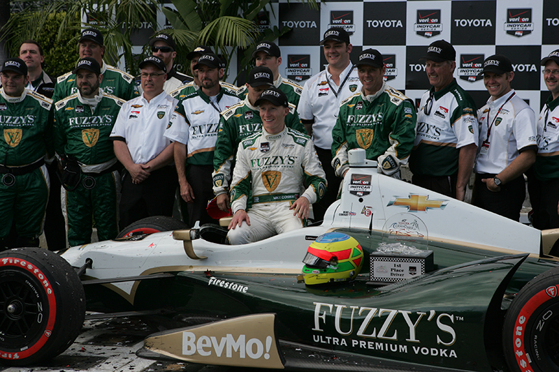 Mike Conway (Ed Carpenter Racing) celebrates his win in the IndyCar race at the 2014 Toyota Grand Prix of Long Beach. Photo Credit: Jevone Moore/News4usonline.com