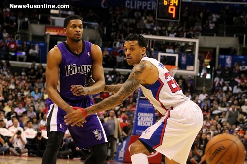 The Clippers' Matt Barnes works at locking up Rudy Gay of the Sacramento Kings.   Photo Credit: Dennis J. Freeman/News4usonline.com