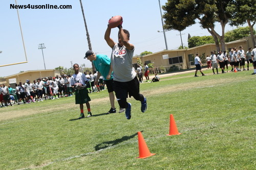 This young camper makes a real grab at the 6th Annual Marcedes Lewis Football Camp.