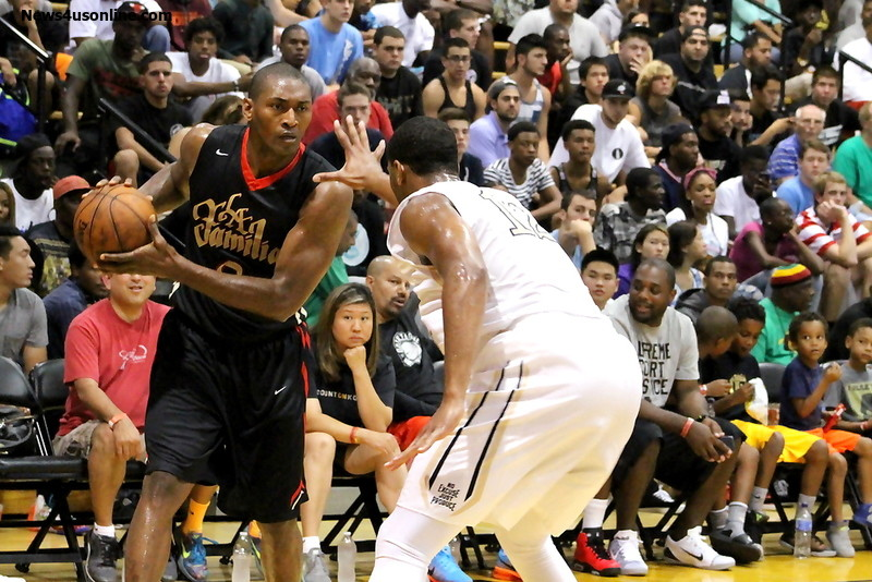 Metta World Peace teamed up with J.R. Smith and The Game in leading the Drew League's La Familia squad to a win Sunday, July 20. Photo Credit: Dennis J. Freeman/News4usonline.com