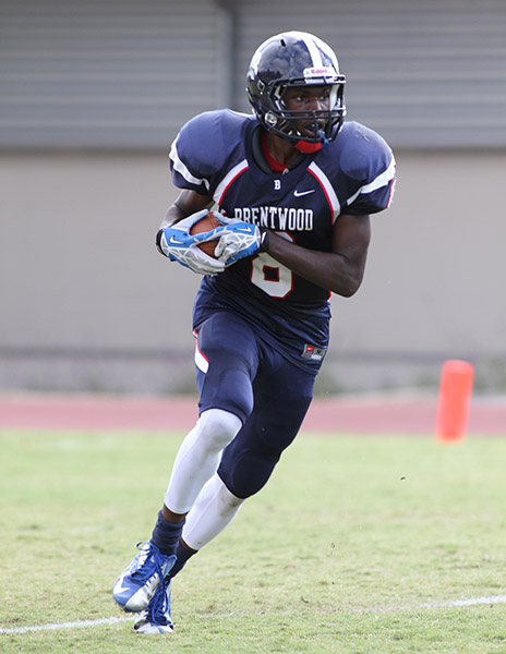 Brentwood  two sport Wide Receiver Ountae Campbell on loan from Basketball team uses his size and speed on kickoff return. Photo Credit: Jevone Moore Courtesy of Full Image 360 / News4usonline.com