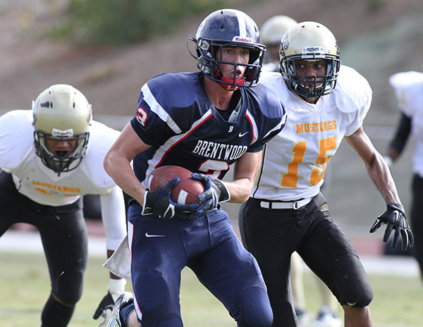 Brentwood Receiver Austin Bleibtreu on his way for 64 yard touchdown catch and run. Photo Credit: Jevone Moore Courtesy of Full Image 360 / News4usonline.com