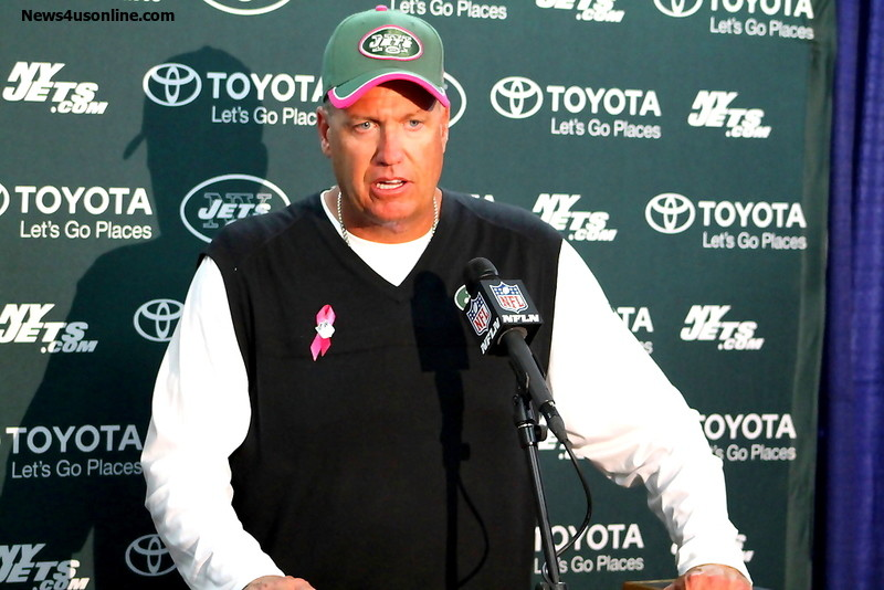 New York Jets head coach Rex Ryan in a press conference after playing the San Diego Chargers earlier this season. Photo Credit: Dennis J. Freeman/News4usonline.com