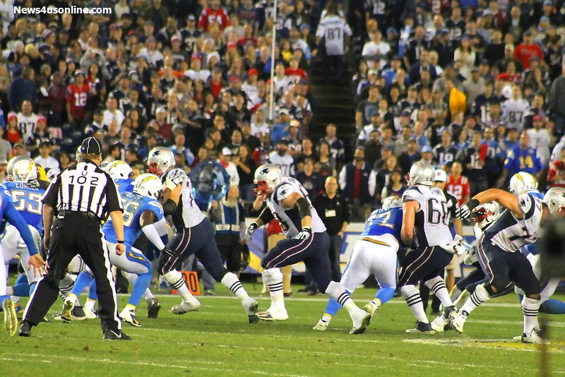 The New England Patriots  wrestled and tussled with the San Diego Chargers at Qualcomm Stadium. Photo Credit: Dennis J. Freeman