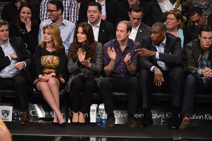 [The Duke and Duchess of Cambridge courtside at Barclays Center for the Cleveland Cavaliers game against the Brooklyn Nets. NBAE/Getty Images