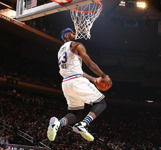 LeBron James of the Eastern Conference All-Star Team goes up to dunk during the 64th NBA All-Star Game presented by Kia as part of the 2015 NBA All-Star Weekend on February 15, 2015 at Madison Square Garden in New York. Credit: Nathaniel S. Butler/NBAE/Getty Images