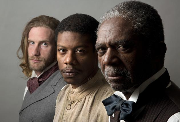 """The """"Whipping Man,"""" now playing at the Pasadena Playhouse, played at the South Coast Repertory first. Stars of """"The Whipping Man,"""" include Adam Haas Hunter (Caleb-left), Charlie Robinson (Simon-right), Jarrod M. Smith (John-center). Julianne Argyros Stage, January 4-25, 2015"""