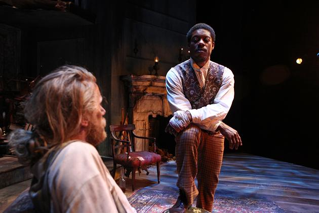 """Adam Haas Hunter (Caleb-left) and Jarrod M. Smith (John-right) share the stage in """"The Whipping Man"""" now playing at the Pasadena Playhouse. """"The Whipping Man"""" first played at the South Coast Repertory before moving to the Pasadena Playhouse."""