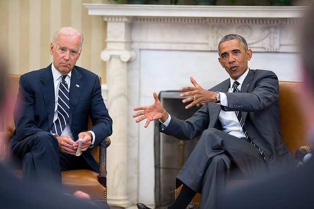 President Barack Obama gestures during a meeting with Vice President Joe Biden in the Oval Office, Aug. 27, 2014. (Official White House Photo by Pete Souza)