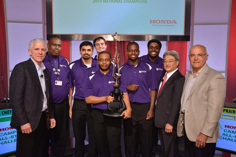 Prairie View A&M, the 2015 Honda Campus All-Star National Champions, collect their trophy from Honda executives.